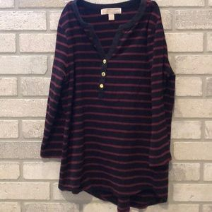 Michael Kors striped 3/4 sleeve shirt